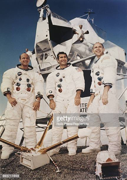 American astronauts and crew of the Apollo 12 manned mission to the Moon from left Mission commander Pete Conrad Command module pilot Richard F...