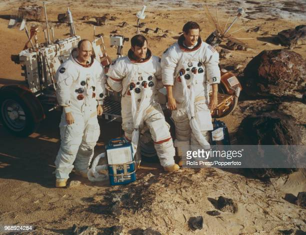 American astronauts and crew of the Apollo 16 manned mission to the Moon from left Command Module pilot Ken Mattingly Mission Commander John Young...