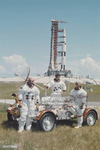 American astronauts and crew of the Apollo 17 manned mission to the Moon from left pilot Ronald Evans Lunar module pilot Harrison Schmitt and Mission...