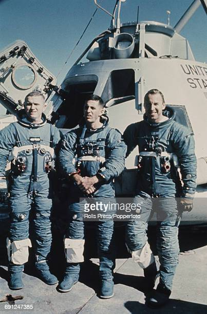 American astronauts and crew of the Apollo 8 mission from left Commander Frank Borman Lunar Module pilot William Anders and Command Module pilot...