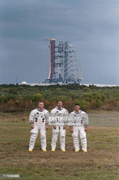 American astronauts and crew of the Apollo 8 mission from left Commander Frank Borman Command Module pilot James Lovell and Lunar Module pilot...