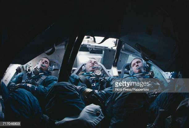 American astronauts and crew of the Apollo 8 mission from left Lunar Module pilot William Anders Command Module pilot James Lovell and Commander...