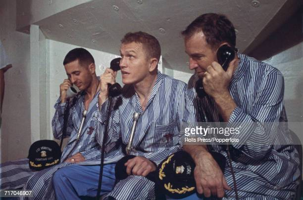 American astronauts and crew of the Apollo 8 mission from left Lunar Module pilot William Anders Commander Frank Borman and Command Module pilot...