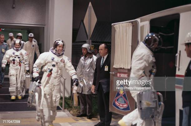 American astronauts and crew of the Apollo 8 mission Lunar Module pilot William Anders Command Module pilot James Lovell and Commander Frank Borman...