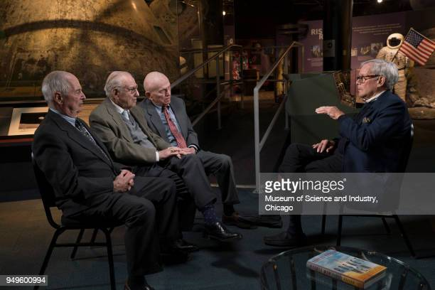 American astronauts from left William Anders James Lovell and Frank Borman all of whom participated in NASA's Apollo 8 mission are interviewed by...