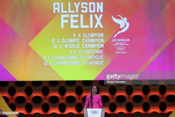 American athelte Allyson Felix during the 131th IOC Session 2024 2028 Olympics Hosts Announcement at Lima Convention Centre on September 13 2017 in...