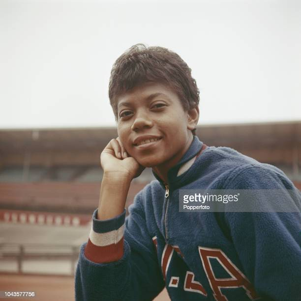 American athlete and sprinter Wilma Rudolph posed at an athletics track in October 1960 Wilma Rudolph has recently won three gold medals in the...
