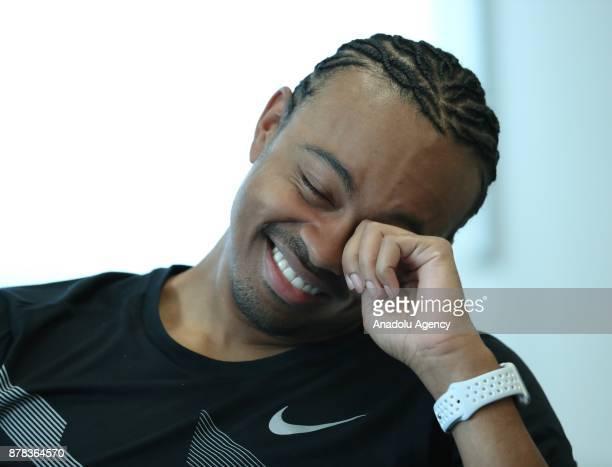 American athlete Aries Merritt gestures during a press point ahead of IAAF best player gala in Monaco Monaco on November 24 2017
