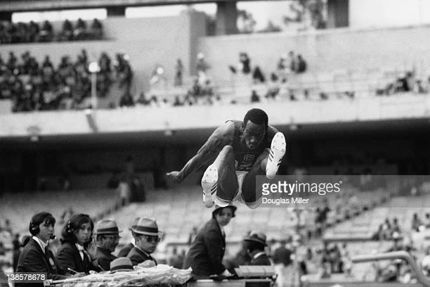 American athlete Bob Beamon breaks the Long Jump record at the 1968 Mexico Olympics 20th October 1968 Keystone photographer Douglas Miller won First...