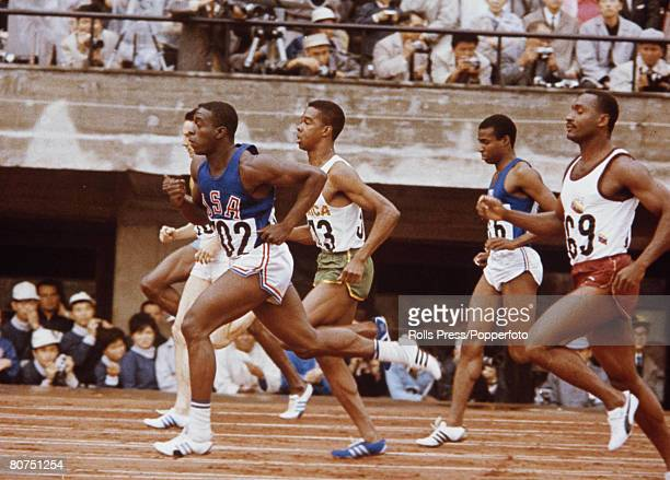 Olympic Games Tokyo Japan Mens 100 metres Final USA's Robert Hayes wins Gold in a new Olympic record time of 1000 seconds