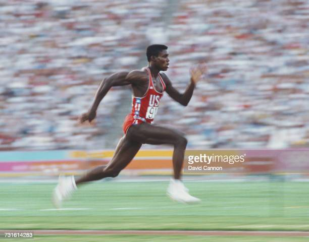 An impression of speed from Carl Lewis of the United States as he competes in the Men's Long Jump event at the XXIII Olympic Summer Games on 6 August...
