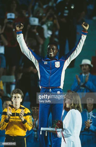 American athlete Carl Lewis at the Los Angeles Memorial Coliseum during the Olympic Games, Los Angeles, August 1984.