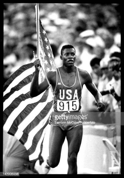 American athlete Carl Lewis at the Los Angeles Olympics August 1984 Lewis won four gold medals at the Los Angeles games