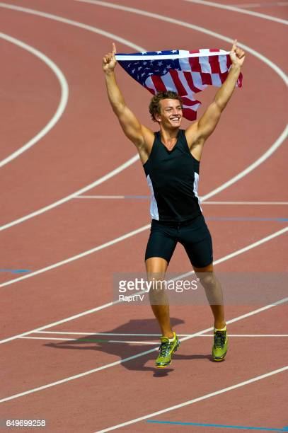 american athlete celebrating. - lap of honour stock pictures, royalty-free photos & images