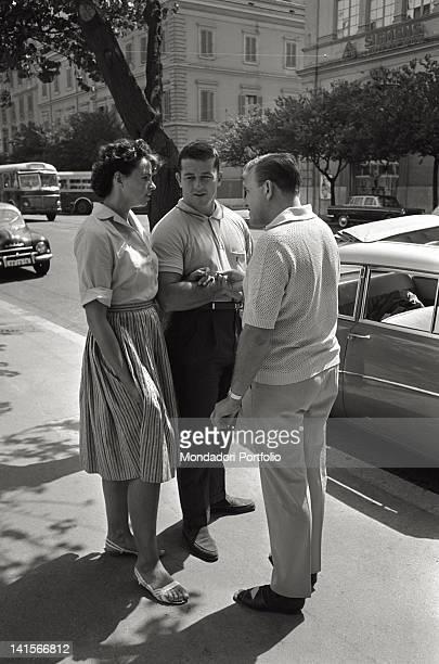 American athlete Harold Connolly walking with the Czechoslovakian athlete Olga Fikotova his wife Rome 1960