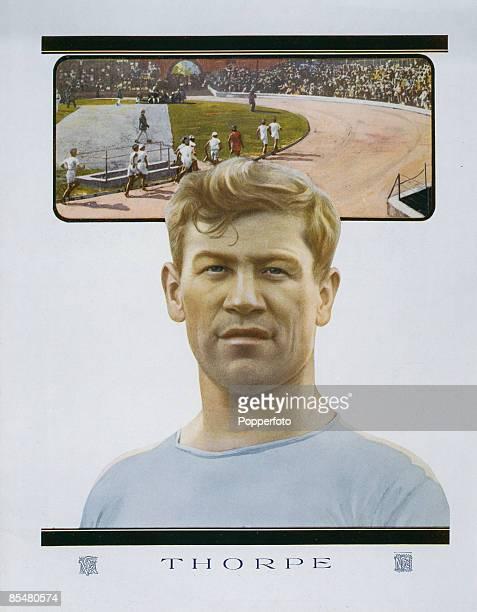 American athlete Jim Thorpe gold medallist in the decathlon and pentathlon at the Stockholm Summer Olympics 1912
