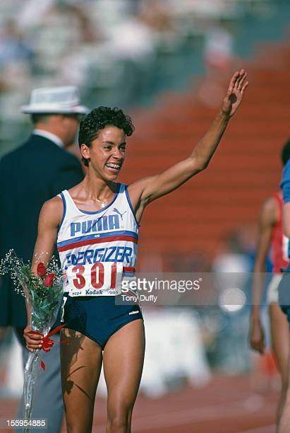 American athlete Kim Gallagher after winning the Women's 800 Metres at the US Olympic track and field trials at Los Angeles Memorial Coliseum 16th...
