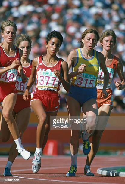 American athlete Kim Gallagher competing in the finals of the Women's 800 Metres at the Los Angeles Memorial Coliseum during the Olympic Games 6th...
