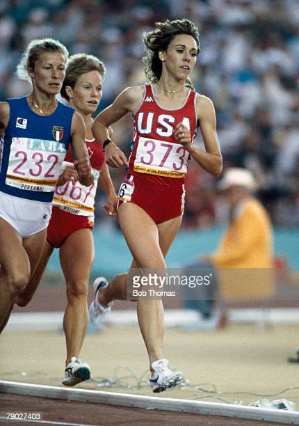 American athlete Mary Decker leads over Agnese Possamai of Italy in a qualifying heat of the women's 3000 metres competition at the 1984 Summer...