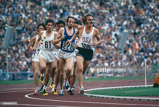 American athlete Steve Prefontaine leads the field in the final of the men's 5000 metres event at the Olympic Games in Munich 10th September 1972...