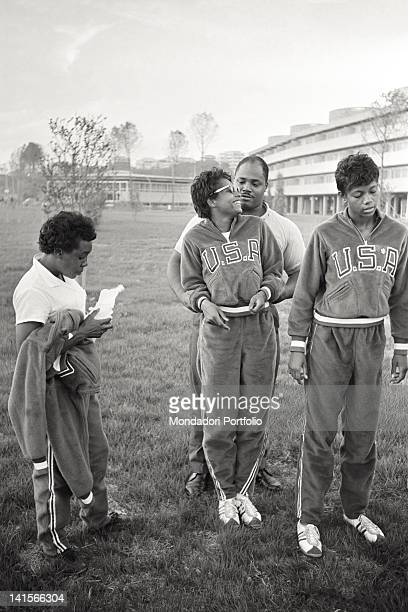 American athletes joking in Rome's Olympic Village Rome 1960