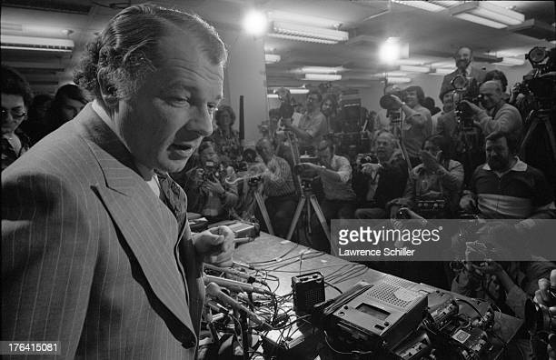 American attorney F Lee Bailey holds a cigarette during a press conference San Francisco California 1976 At the time Bailey was serving as the lead...