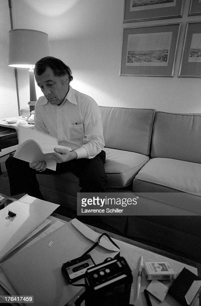 American attorney F Lee Bailey reviews documents in his room at the Stanford Court hotel San Francisco California 1976 At the time Bailey was serving...