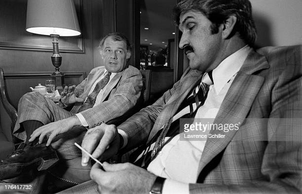 American attorney F Lee Bailey sits and talks with an unidentified man San Francisco California 1976 At the time Bailey was serving as the lead...