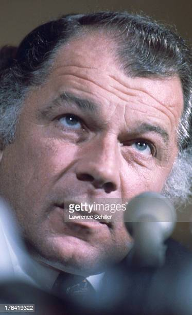 American attorney F Lee Bailey speaks into a microphone at a press conference San Francisco California 1976 At the time Bailey was serving as the...