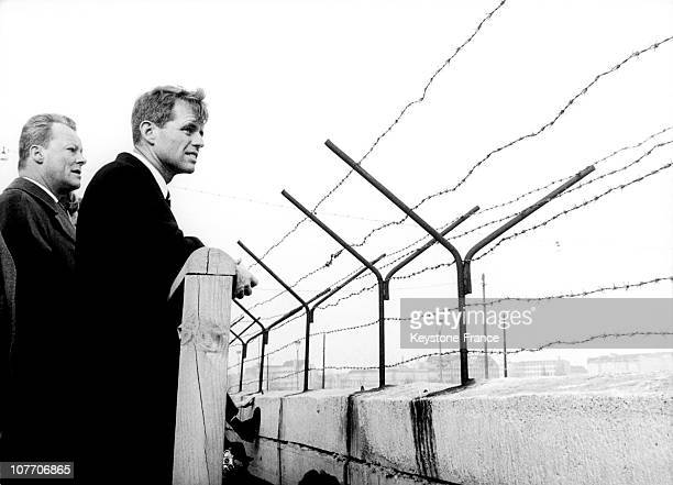American Attorney General In Front Of Berlin Wall At Potsdamer Platz With Governing Mayor Of Berlin Willy Brandt On March 22Nd 1962