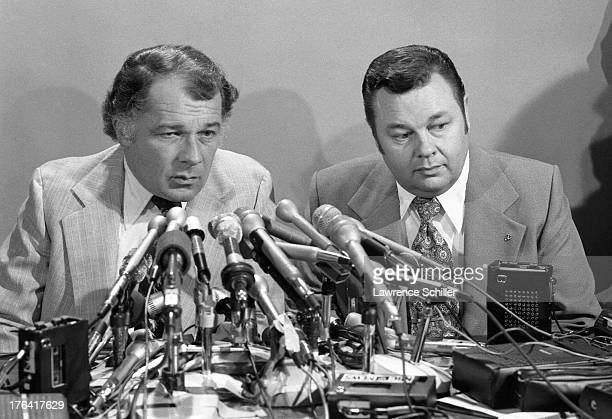 American attorneys F Lee Bailey and J Albert Johnson sit behind a bank of microphones during a press conference San Francisco California 1976 At the...
