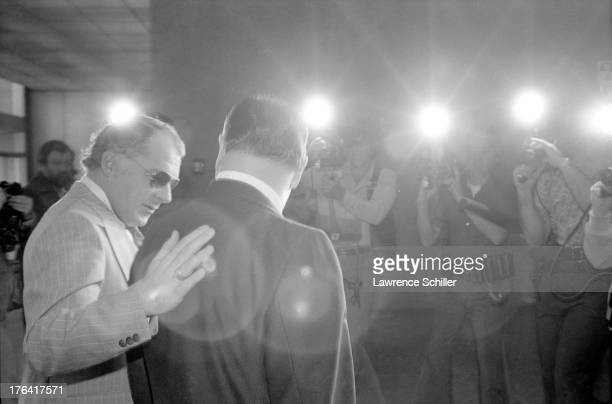 American attorneys F Lee Bailey and J Albert Johnson speak to the media at a press conference San Francisco California 1976 At the time the pair were...