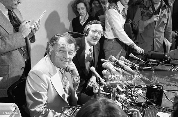 American attorneys F Lee Bailey and James Browning sit behind a bank of microphones during a press conference San Francisco California 1976 At the...