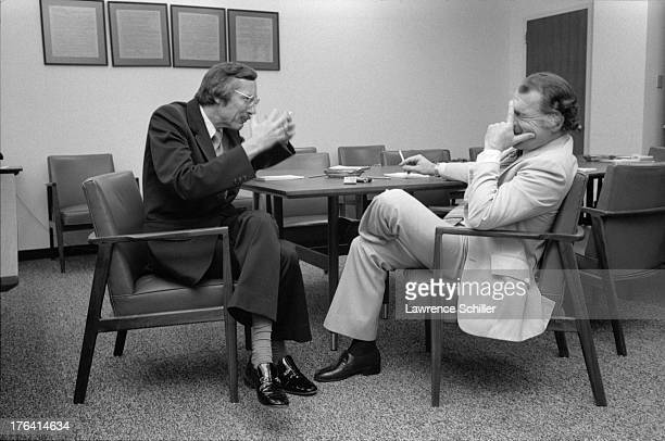American attorneys James Browning and F Lee Bailey share a laugh as they sit at a conference table in the Department of Justice San Francisco...