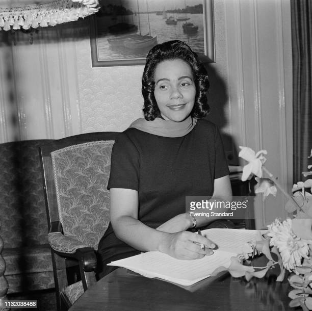 American author activist and civil rights leader Coretta Scott King at a London hotel UK 21st March 1969