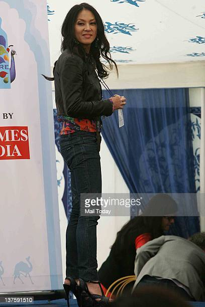American author Amy Chua poses during DSC Jaipur Literature Festival 2012 in Jaipur on January 21 2012