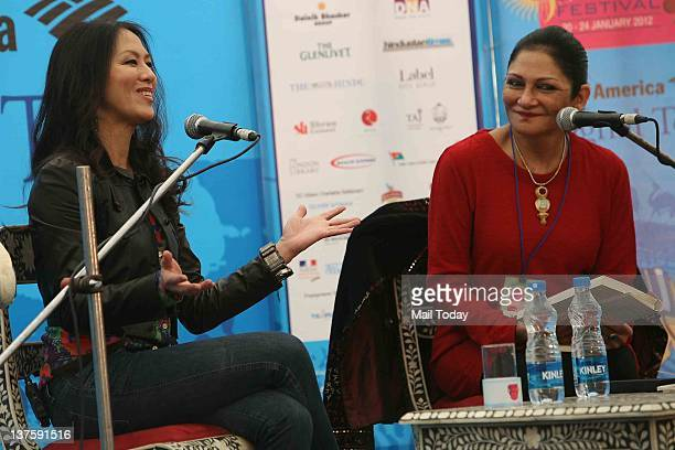 American author Amy Chua smiles during a conversation with Indian journalist Madhu Trehan on her book 'Tiger Mothers' during DSC Jaipur Literature...