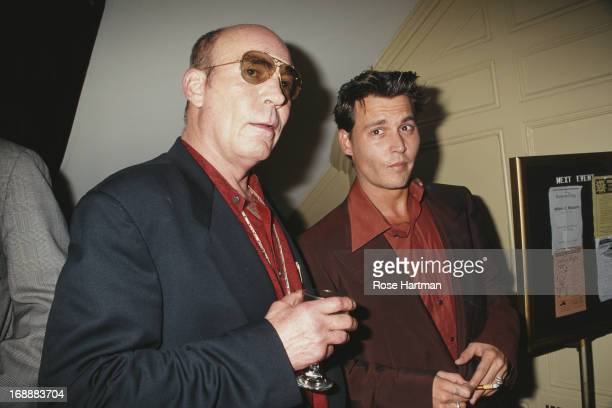 American author and journalist Hunter S Thompson and actor Johnny Depp attend a book party at the Players Club in New York City 1997