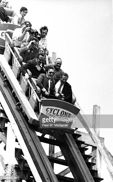 American author and New York City Mayoral candidate Norman Mailer rides the Cyclone roller coaster while campaigning in Coney Island New York New...