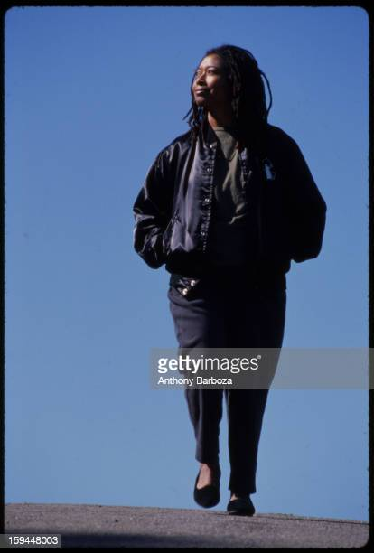 Pulitzer prizewinning author and poet Alice Walker walks outdoors near her home San Francisco California 1989
