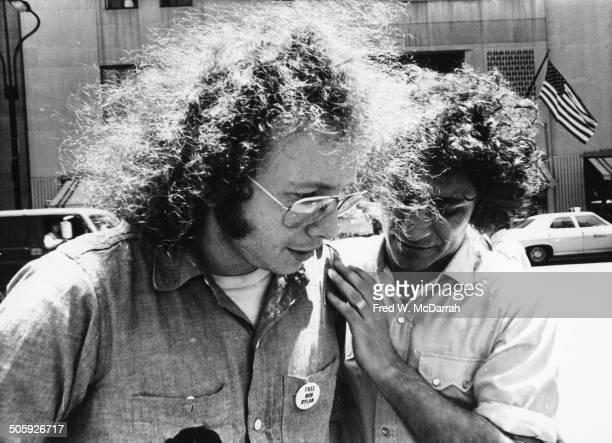 American author and political activist AJ Weberman talks with fellow activist Abbie Hoffman New York New York June 11 1971