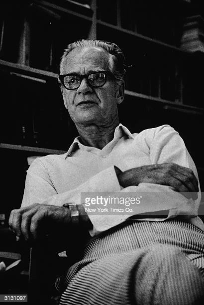 American author and psychologist B F Skinner sits in an armchair August 24 1971