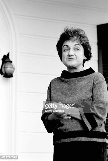 American author and women's rights activist Betty Friedan as she stands on a porch New Jersey 1964