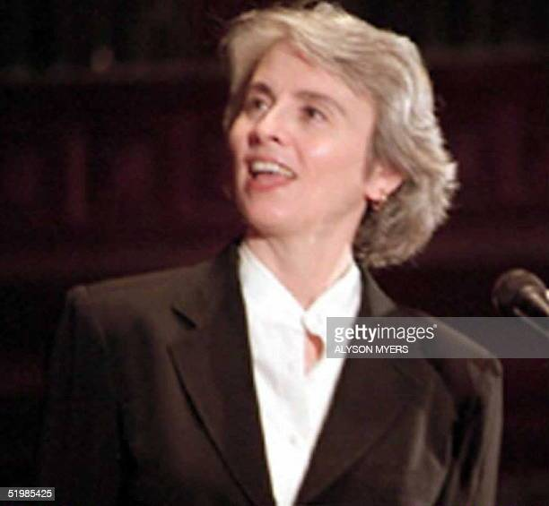 American author Camille Paglia speaks at Georgetown University in Washington, DC September 1994.