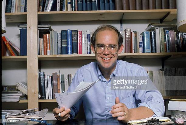 American author, editor, and political scientist David Eisenhower, grandson of former President Dwight D. Eisenhower, sits at a desk in his home...