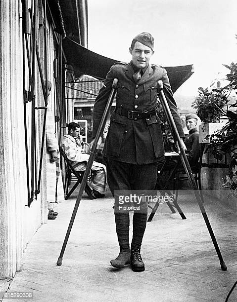 American author Ernest Hemingway in his soldier's uniform. Hemingway served in World War I in an ambulance unit and was decorated for heroism after...