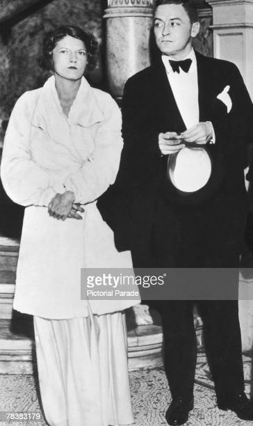 American author F. Scott Fitzgerald attends a formal event with his wife Zelda , circa 1935.