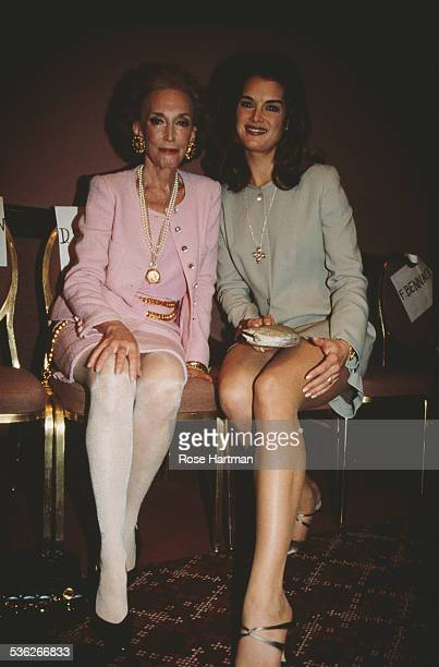 American author Helen Gurley Brown and American actress Brooke Shields attend a luncheon, 1995.