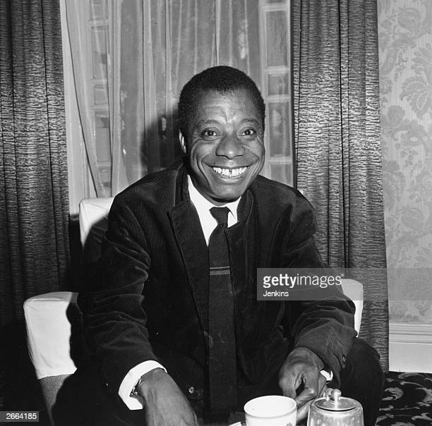 American author James Baldwin during an interview at the Whitehall Hotel in Bloomsbury Square London