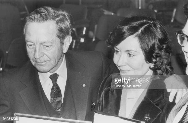 American author John Cheever and his wife Mary at a book award ceremony, New York, New York, January 24, 1979.